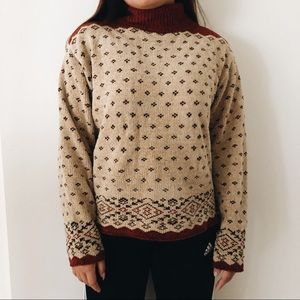 vintage 90s Cozy Tan Knit Turtleneck Sweater